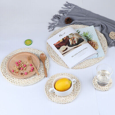 Corn woven Dining Table Mat Heat Insulation Pot Holder Round Table Placemats