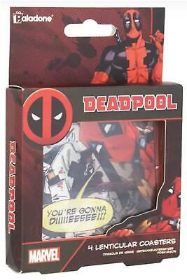 Set Of 4 Official Marvel Deadpool Lenticular Drinks Coasters