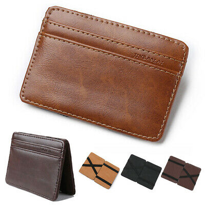 Magic Flip Leather Wallet Slim RFID Blocking Credit Card Holder Mens Money Clip