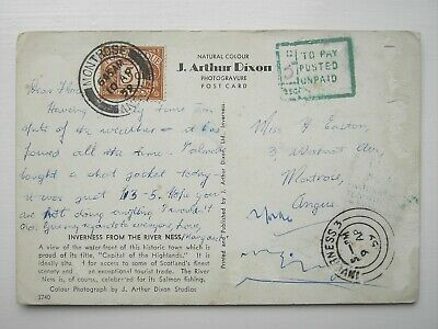 GB 5d Postage Due Stamp on postcard. 5 pence To Pay - Unpaid. 1959 Postmark D44?