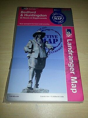 Ordnance Survey Landranger Laminated Map Bedford & Huntingdon St Neots 153 New