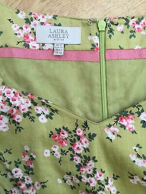 Laura Ashley Archive Vintage Style Green Pink Blossom Cotton Tea Dress - Size 12