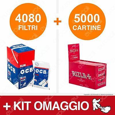 4080 Filtri OCB Slim 6mm 5000 Cartine Rizla Rosse Red Corte Libretti Tipo B