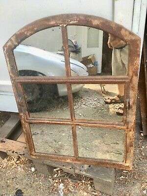 Vintage Cast Iron Industrial Metal Mirror Window 6 Pane over mantle