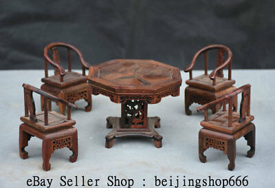 "4.8"" China Huanghuali Wood Dynasty Table 4 Chair Classical Furniture Set Decor"