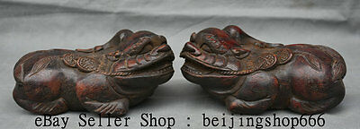 "6"" Old Chinese Rosewood Wood Carved Feng Shui Pixiu Beast Statue Sculpture Pair"
