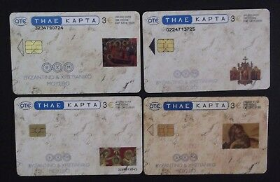Greece 4 Greek Phonecards From 2003 With Thema Religious Complete Set Grecia !!!