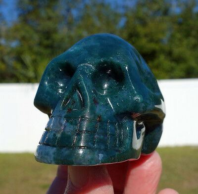 NEW Old Stock The Genuine MOSS AGATE Crystal SKULL Rich Deep Minerals