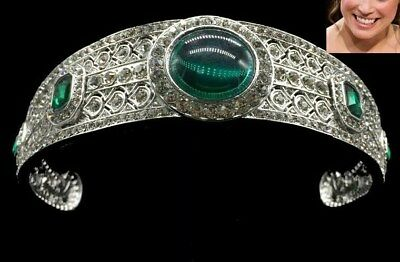 Luxury green royal princess eugenie style tiara crystal diamante bridal wedding