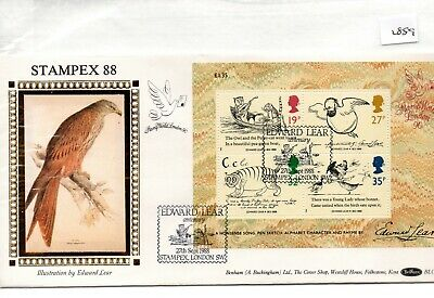 GB - FIRST DAY COVER (FDC) - (2889) 1988 - Edward Lear - m/s - pmk Stampex