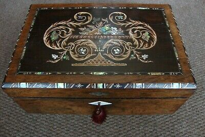 Antique Vintage PAUA shell MOP inlay wooden writing travelling slope box case
