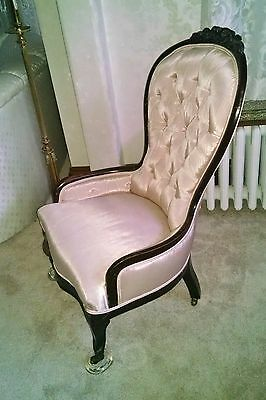 Victorian Button Back Walnut Nursing Chair Recently Reupholstered PICK UP Boston