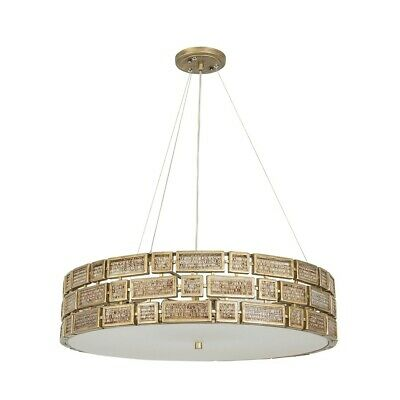 Stewart 5 Light Alabaster Chandelier with Marbleized Glass Shades