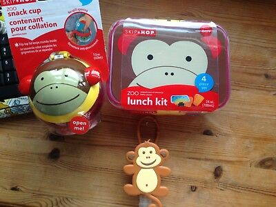 Skip Hop Zoo Range Feeding No Spill Snack Cup Lunch Box & Monkey Hand Sanitiser