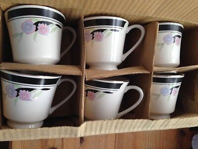 Vintage Retro Art Deco Coffee Cup & Saucer x 6  Porcelain Brand new