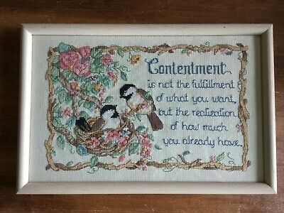 """Completed Framed Cross Stitch """"Contentment"""" Chickadees Birds Roses BEAUTIFUL!!"""
