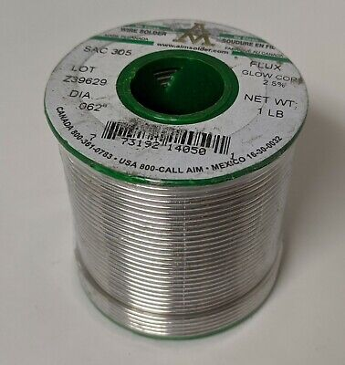 AIM WIRE SOLDER LEAD FREE SAC305 NO CLEAN GLOW CORE FLUX .020 SAMPLE 2 PACK