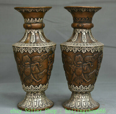 "13"" ""Old Tibet Copper Silver Garuda Bird Eagle Buddha Dragon Bottle Vase Pair"