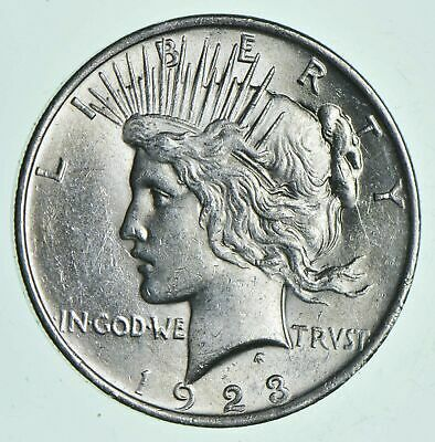 (1) AU $1 1923 Peace Silver Dollars Dripping w luster Almost Unc 90% Bulk & Save