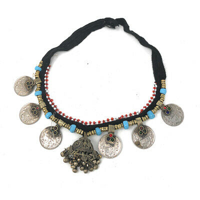 Gypsy Choker Necklace with Metal Coins Studded in Lapis Lazuli Afghan Tribal