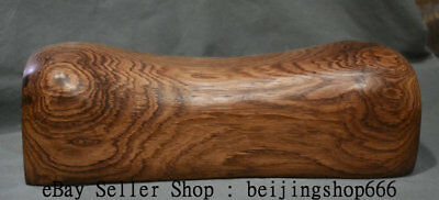 """10.8"""" Old China Huanghuali Wood Carving Dynasty Palace Weeping Willow Pillow"""