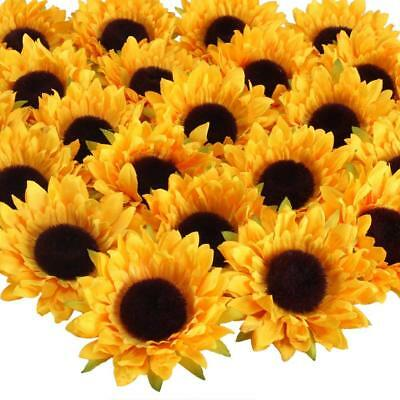 24pcs Artificial Silk Sunflower Head Decor Wedding Party Home Holding Sunflowers