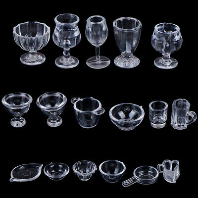 17Pcs/Set 1:12 Dollhouse Miniature Transparent Tableware DIY Pretend Play T JR