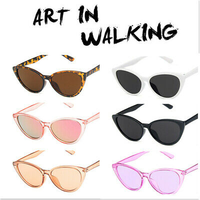 Vintage Retro Women's triangle Cat Eye Designer Large Mirrored Sunglasses UV400