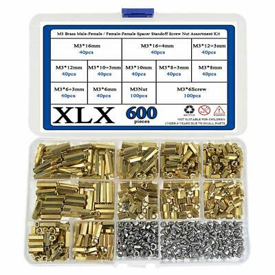 210pcs M3 Male Female Brass Spacer Standoff//Stainless Steel Screw//Nut Kit L3I5