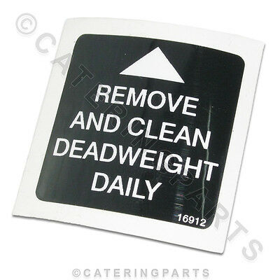 Hp16912 Henny Penny Fryer 16912 Remove & Clean Dead Weight Sign / Decal Sticker