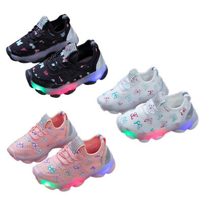Toddler Baby Kids Boys Girls Luminous Trainer Sneakers Casual LED Light Up Shoes