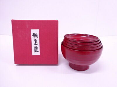 4292813: Japanese Wajima Red Lacquered Nesting Bowl Set