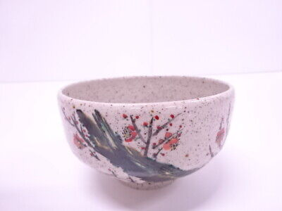 4292685: Japanese Tea Ceremony Kutani Ware Tea Bowl / Ume Blossom Chawan