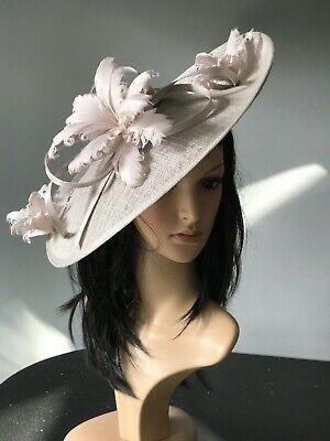 SUZANNE BETTLEY MUSHROOM GREY WEDDING  DISC FASCINATOR Mother Of The Bride Hat