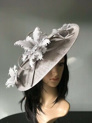 SUZANNE BETTLEY  GREY WEDDING  DISC FASCINATOR Mother Of The Bride Hat
