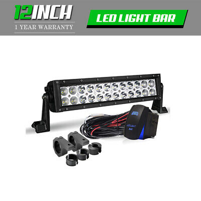 LED Work Light Bar 12Inch 72W 7200LM Brackets Wiring Fits Jeep Polari ATV UTV