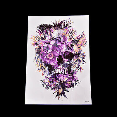 Chic Fake Temporary Tattoo Sticker Purple Skull Arm Body Waterproof Women ArtSC