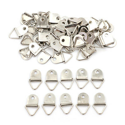 50Pcs Silver Triangle Mirror Hangers Strap D-Ring Hanging Picture Frame HooksSC