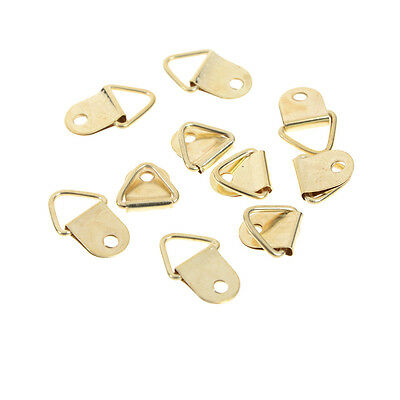 40Pcs D Ring Hooks Golden Brass Triangle Photo Picture Frame Wall Mount  nSC