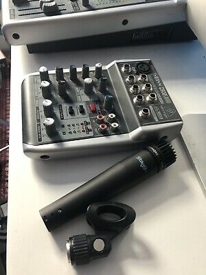 Behringer XENYX 502 Mixer 5-Input 2-Bus And Stagg Shotgun Microphone.