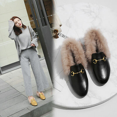 Womens Real Rabbit Fur Lined Leather Shoes Slip On Mules Horsebit Metal Loafers