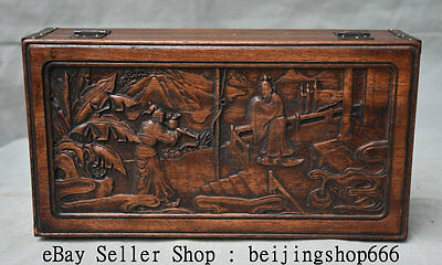 """12""""Old China Huanghuali Wood Carved Dynasty Scenery People Man Jewel case or Box"""