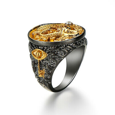 7-13 Jewelry Party  Gift Chinese Dragon Carved Black 18K Gold Plated Men's Ring