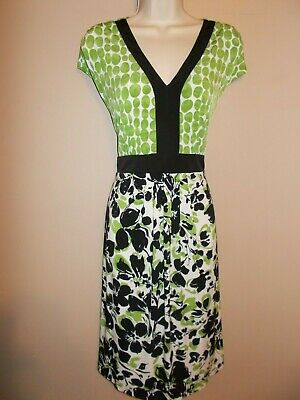 NWT Motherhood Maternity Womens Size L Green & Black Stretch Dress Ties in Back