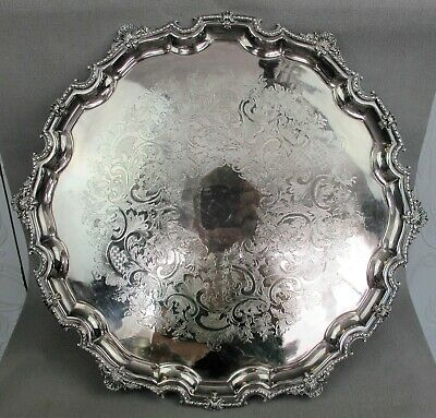 Top quality large & heavy round Lonsdale Silver Plate SERVING TRAY / SALVER. 17""