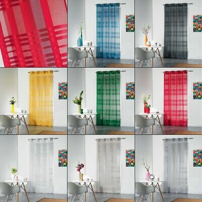 Sacha Striped Eyelet Ring Top Voile Curtain Panel - 240cm Drop -Assorted Colours