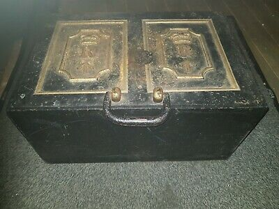 Very Rare 19th century Victorian Cast Iron Revenue Strong Box with original key