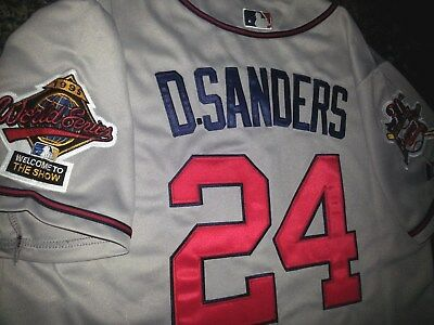 promo code d7dc7 5c608 BRAND NEW GREY Atlanta Braves #24 Deion Sanders cooperstown 2patch sewn  Jersey