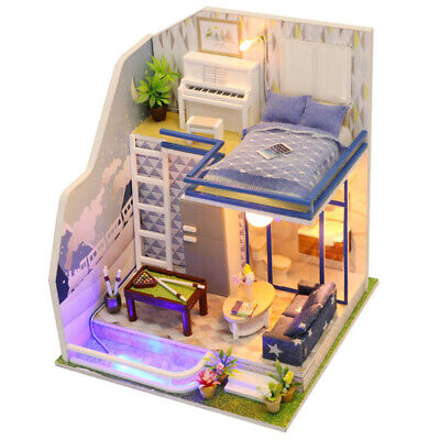 Dollhouse DIY Room with Furniture Kits LED Lights 1:24 Scale -Sapphire Love