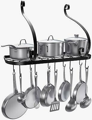 Pots Pans Rack Hanger Cookware Holder 40 lbs Caps Organizer Mounted 10 Hooks NEW